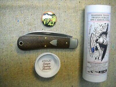 Great Eastern Cutlery Tidioute # 47 Viper Knife perfect Brown Burlap Micarta