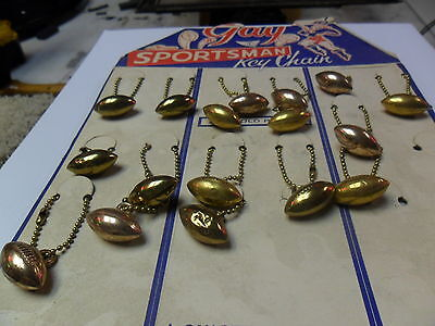 Vintage 1950s Football Key chain display, 24kt. gold-plated