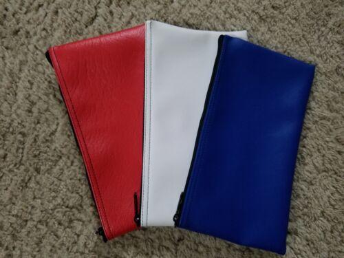 3 Pack New ( 1 Red 1 White 1 Blue ) Zippered Vinyl Like Bank Deposit Money Bags