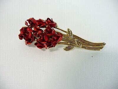 Vintage Estate Brooch Floral Bouquet Mother Day's Signed  DM 97 Pin Gold Tone ()