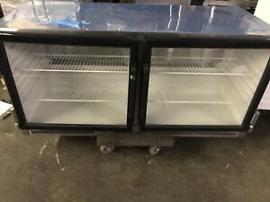 Commercial under counter glass double door fridge
