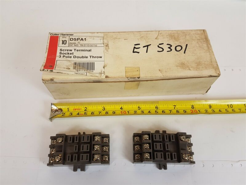 Cutler-hammer D5pa1 Relay Screw Terminal Socket 3-pole Double Throw - Qty 10 New