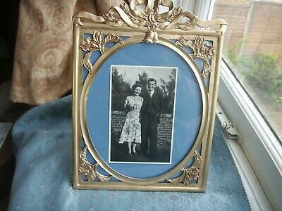 Old Vintage Spelter Metal Gold Art Nouveau Style Large Wedding Photo Frame fine