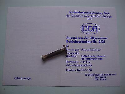 DDR Fortschritt LPG KTA KFZ Brief Betriebserlaubnis Anhänger Mehrachs Nr. 2421