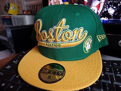 Boston Celtics Hardwood Classics Scripter NBA New Era 59Fifty Flat Bill Hat Cap Boston Celtics Classics Flat