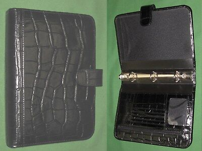 Classic 1.0 Black Reptile Syn Leather Day Runner Planner Binder Franklin Covey