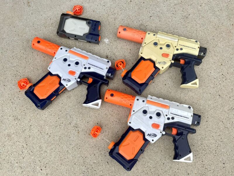 Nerf Super Soaker Thunderstorm With Water Clip-Working LOT 3 TESTED Squirt Gun