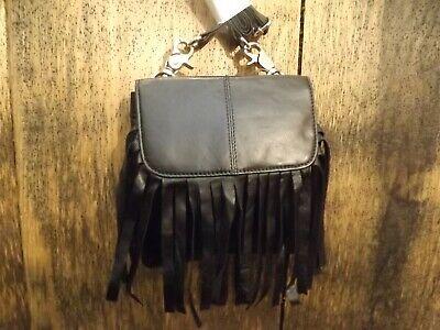 NEW Black Genuine Leather 2 Pocket 7x7 Fringed Crossbody Shoulder Belt Pouch Bag
