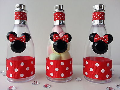 12 Minnie Mouse Fillable Champagne Bottles Baby Shower Favor