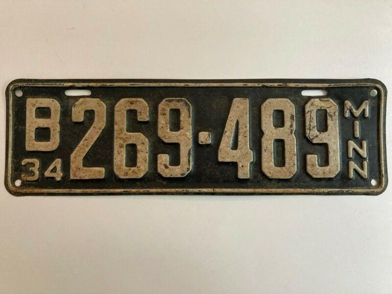 1934 Minnesota License Plate 100% All Original