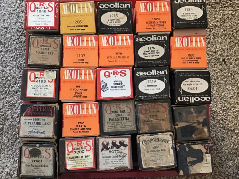 Lot of 25 Vintage Player Piano Rolls QRS, Aeolian, Imperial, Variety Of Songs (1