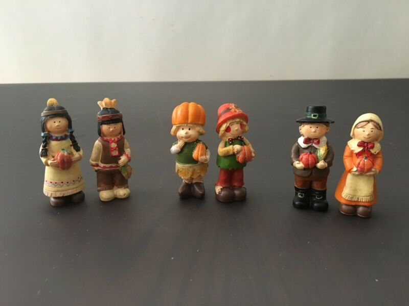 "Thanksgiving Lot 6 (3 Pairs) 3"" Resin Figurines"