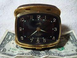 Vintage Bradley Seven Jewels Travel Alarm Clock Working Nice Germany