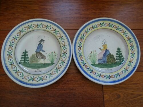 VINTAGE PAIR PLATE FRENCH FAIENCE HB QUIMPER 19 TH CENTURY