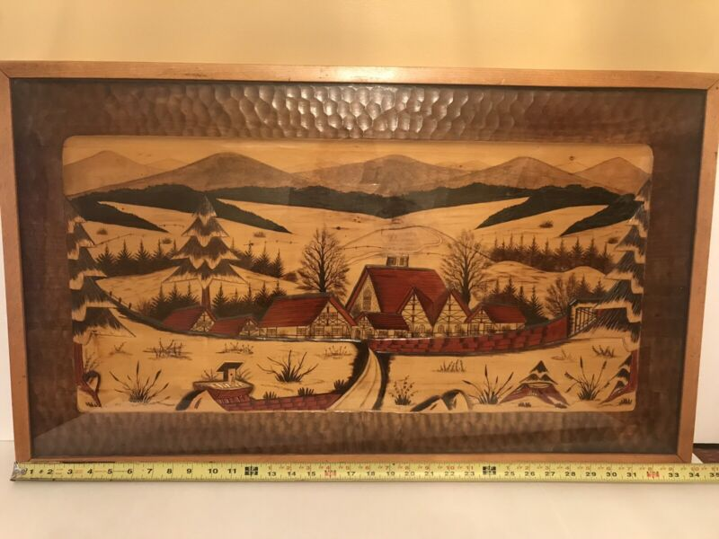 Vintage German Black Forest Hand Carved Wood Wall Art .With Removable Glass Top