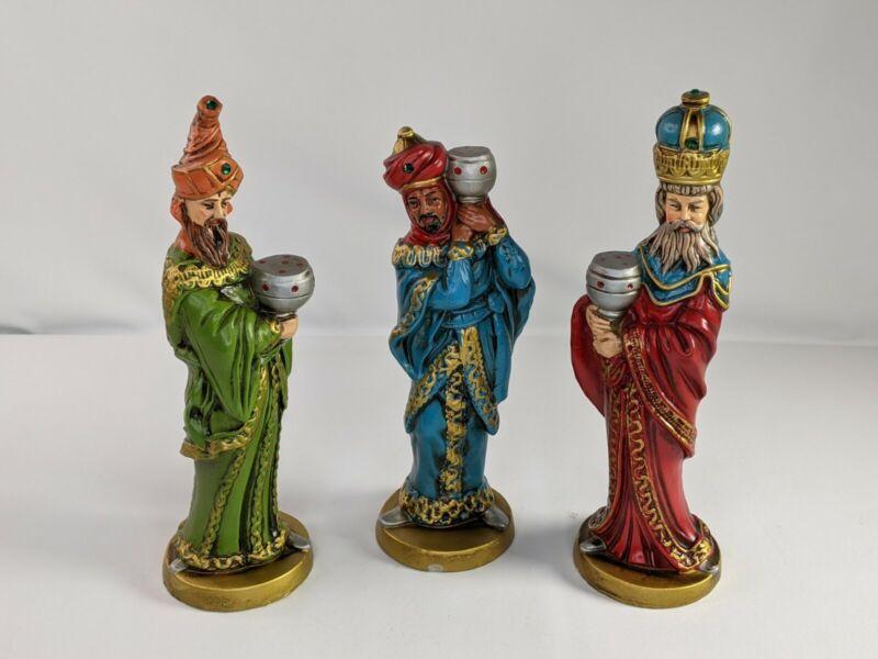 "Vintage 3 Wise Men Kings Nativity Paper Mache Figurines Japan 10"" Tall"