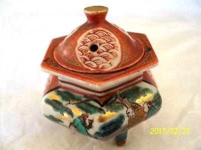 Antique JAPANESE MEIJI PERIOD Beautiful KUTANI INCENSE BURNER; Signed