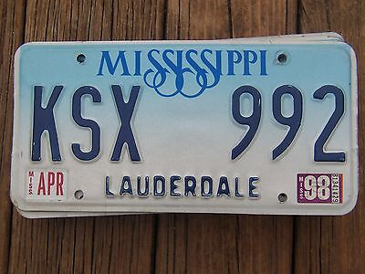 KSX 992 = April 1998 Lauderdale County Mississippi license plate