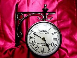 VICTORIA ~ STATION ~ RAILWAY ~ CLOCK ~ LONDON DOUBLE ~ SIDE ~ CLOCK 10 INCHES