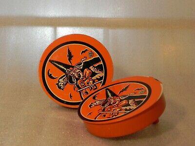 Vintage Halloween Tin Lithograph Noise Maker witch bat noisemaker U.S. Metal Toy