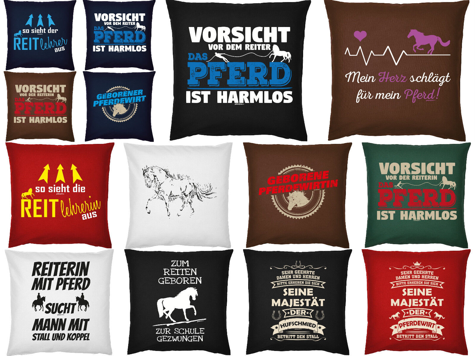 Pferde Sprüche Kissen - Pferdewirt - Hufschmied - Reitlehrerin - Reitsport Deko