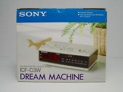 SONY VINTAGE DREAM MACHINE ICF-C3W RETRO DIGITAL ALARM CLOCK AM/FM RADIO WORKS!