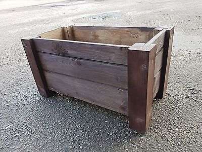 Wooden Rectangular Pot, Set of Two,  59 cm Long of Solid Wood, - Rusty Color