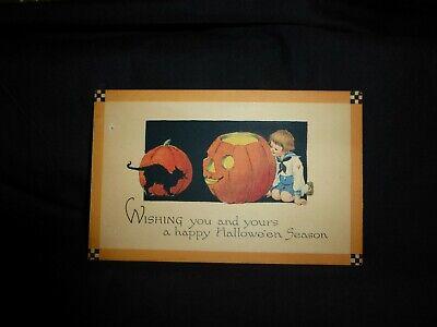 Vintage Halloween Postcard-Fabulous Black Cat And Big Scary Carved Pumpkin - Black Cat Halloween Pumpkin Carving
