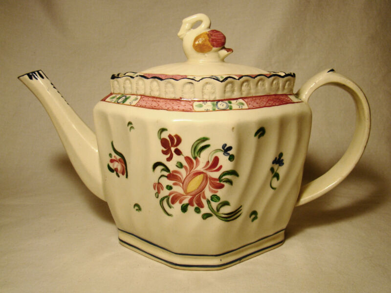 18th Century English Creamware Silver Shape Teapot with Rare Swan Finial Cover