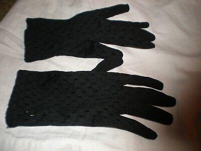 VINTAGE BLACK BRI - NYLON GLOVES 6.5 -  7.5 NICE CUT OUT DESIGN ON BACK OF HAND