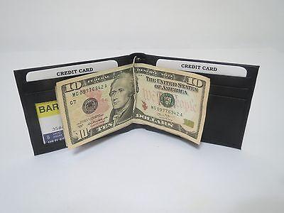 New Men's Genuine Leather Bifold Black Money Clip Wallet ID Credit Card Holder.