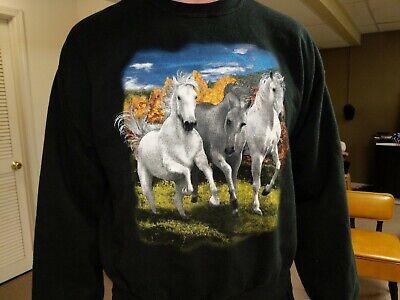 Horses Sweatshirt Large Black Retro Vintage Autumn -
