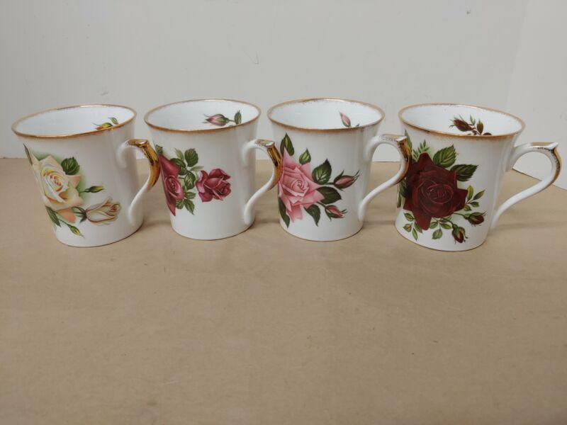 Rosina, England, 4 cup set, roses