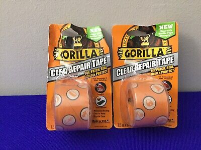 New Gorilla Crystal Duct One Tape 1.5 X 5 Yd Clear. Lot Of 2  G6