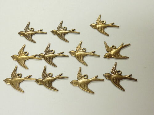 brass stamping SWALLOW BIRDS high definition perfect size for earrings ab18