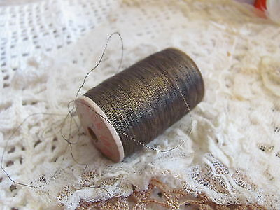 Rare Antique 1920s French Dark Gold Metal Metallic Embroidery Thread Spool 1 ply