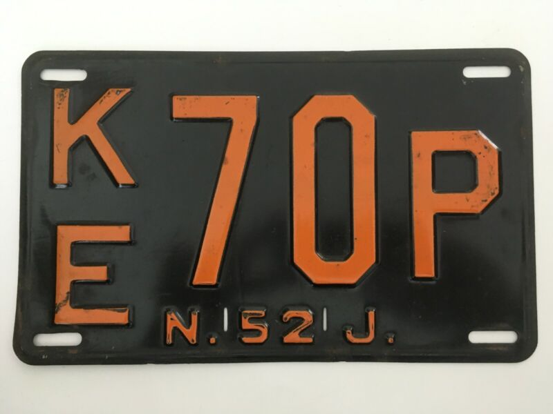 1952 New Jersey License Plate All Original Paint