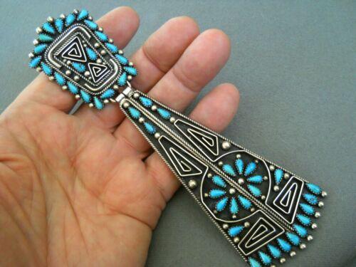 BILLY BETONEY Native American Navajo Turquoise Sterling Silver Hook Neck Tie