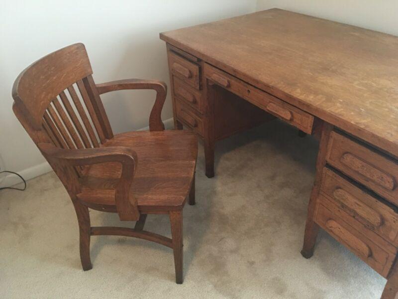 Antique Oak Teacher's Desk And Chair