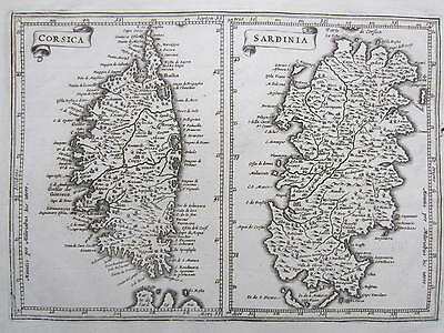 Engraved Map of Sardinia Sardegna Corse Corsica Sauzet - early 18th. Century