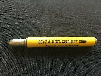 Vintage Advertising Bullet Pencil- Boys' & Men's Specialty Shop - Watertown, NY