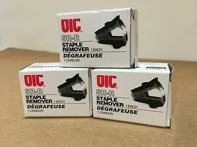 3 Units Officemate Oic Staple Remover Recycled Handle Black 95691 Nib