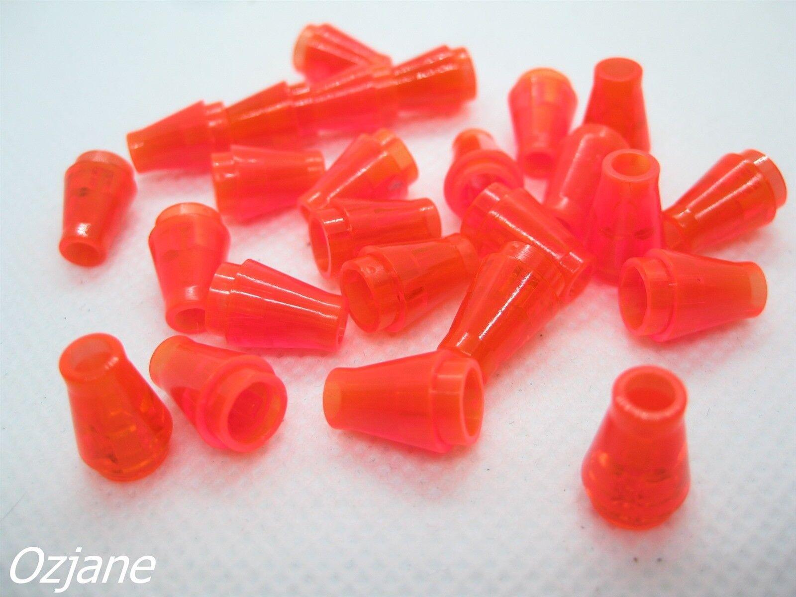 2 X Lego 4589b Cone 1 x 1 with Top Groove Trans-neon orange