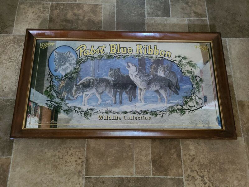 Pabst Blue Ribbon Beer Wolf Wood Frame Back Back Bar Mirror Sign Game Room