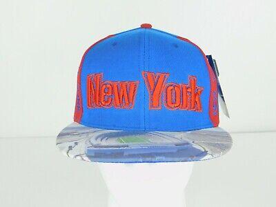 City Hunter Red & Blue New York Stadium Adjustable Flatbill Snapback Hat NWT
