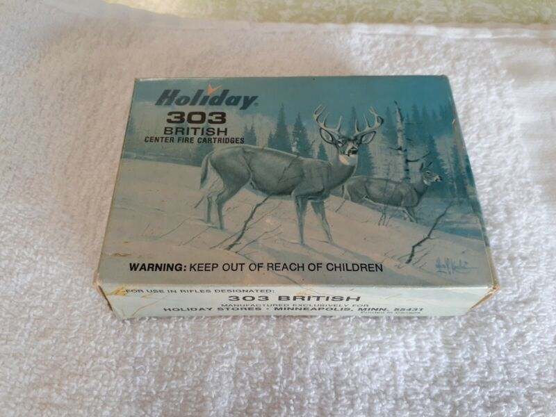 Vintage Holiday  303 British EMPTY Rifle Shell Box  WITH Les Kouba Deer Print