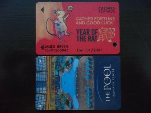 Caesars Rewards Harrahs Casino Year of the Rat Slot Card & Room Key SET BOTH