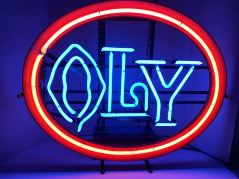 RARE VINTAGE OLYMPIA NEON LIGHTED BEER SIGN BAR LIGHT OLY ORANGE