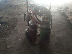 Oxygen and acetylene torch and cart