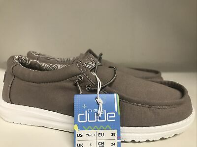Hey Dude Wally Youth Grey Youth Size 6 (EUR 37)  Will Fit Women's 7